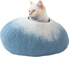 Sky-Blue-and-White-Cat-Cave-Pet-Bed